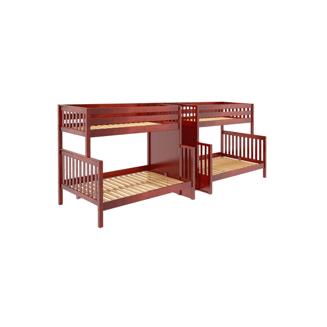 High Twin XL over Queen Quadruple Bunk Bed with Stairs