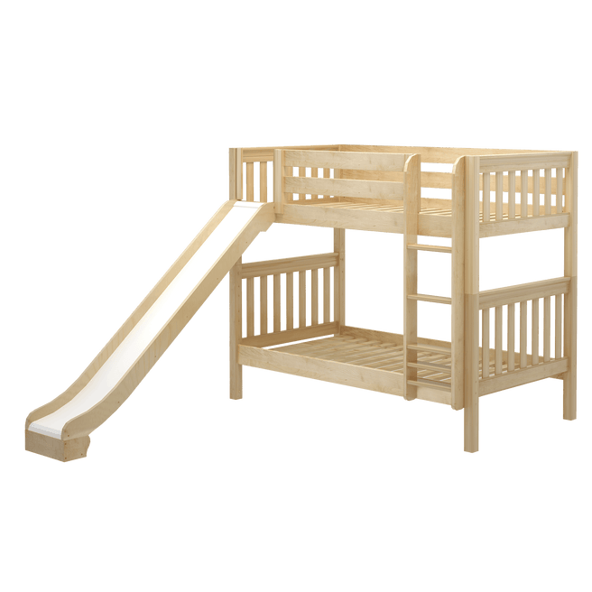 Twin Medium Bunk Bed with Straight Ladder, Curtain + Slide
