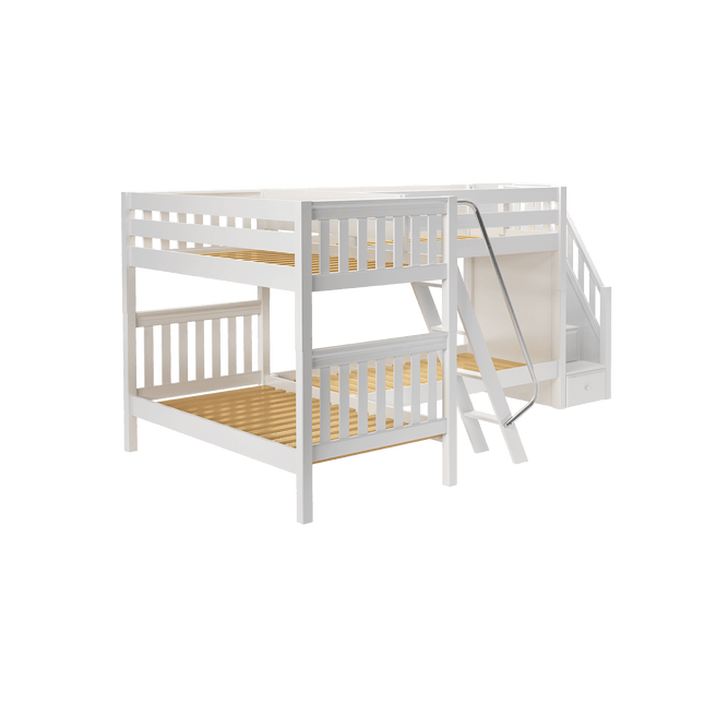 Twin Medium Corner Bunk Bed with Ladder + Stairs - R