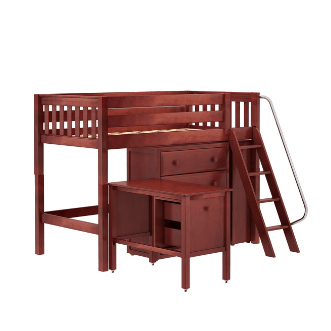 Twin Mid Loft Bed with Angled Ladder, Storage + Desk