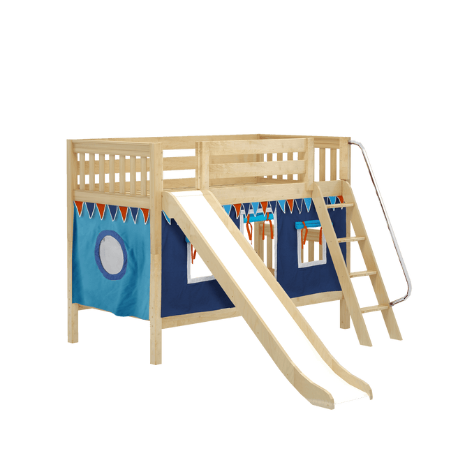 Twin Low Bunk Bed with Angled Ladder, Curtain + Slide