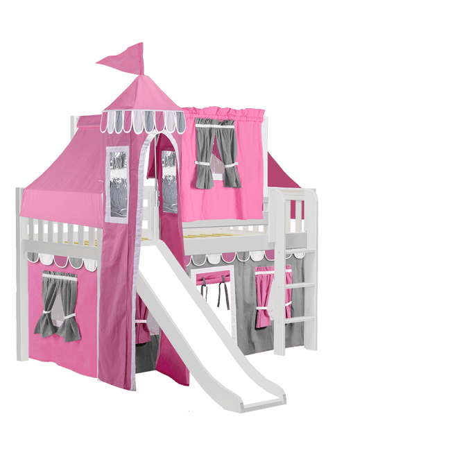 Twin Low Loft Bed with Straight Ladder, Curtain, Top Tent, Tower + Slide