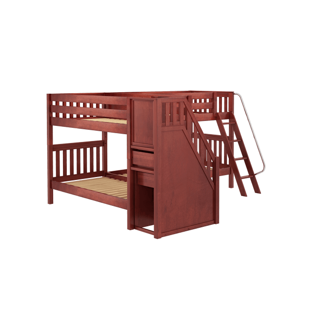 Twin Medium Corner Bunk Bed with Ladder + Stairs - L