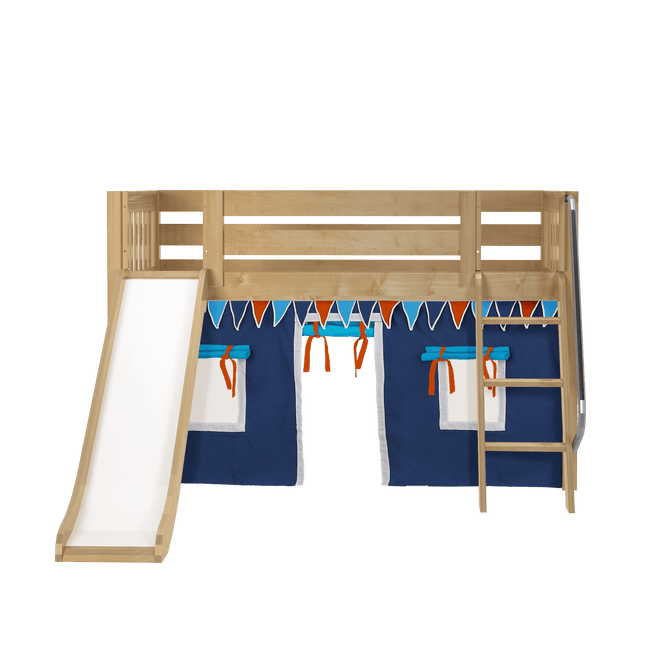 Twin Low Loft Bed with Straight Ladder, Curtain + Slide