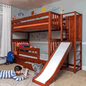Twin High Bunk Bed with Slide Platform