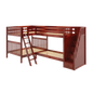 Full High Corner Bunk Bed with Ladder + Stairs - R
