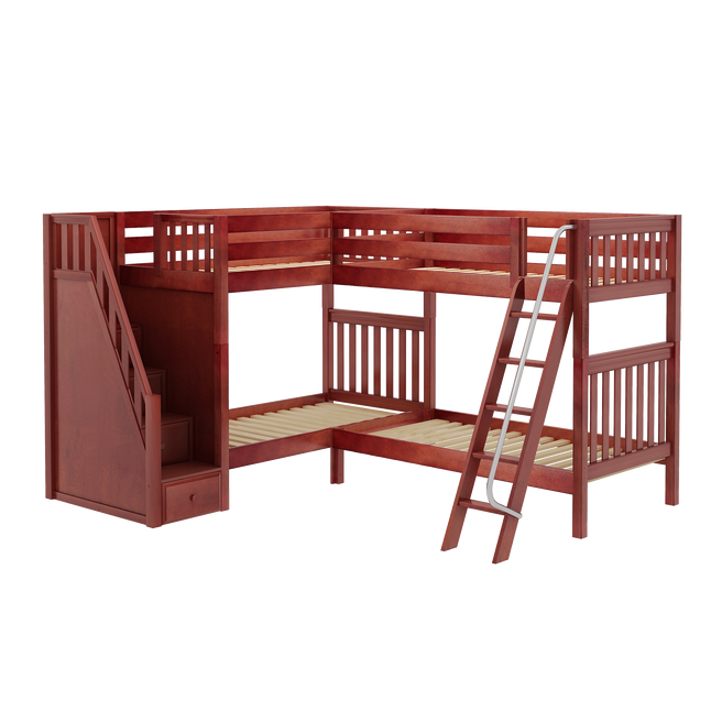Twin High Corner Bunk Bed with Ladder + Stairs