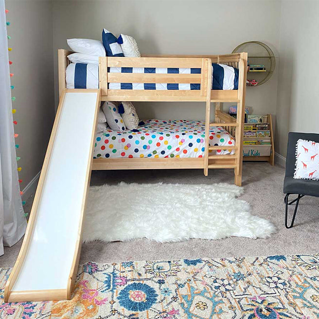 Twin Low Bunk Bed with Slide