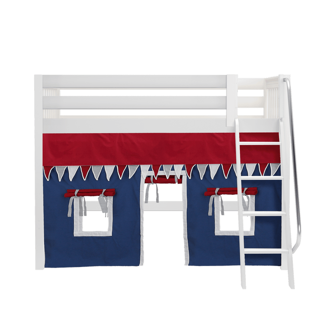 Twin Mid Loft Bed with Angled Ladder + Curtain