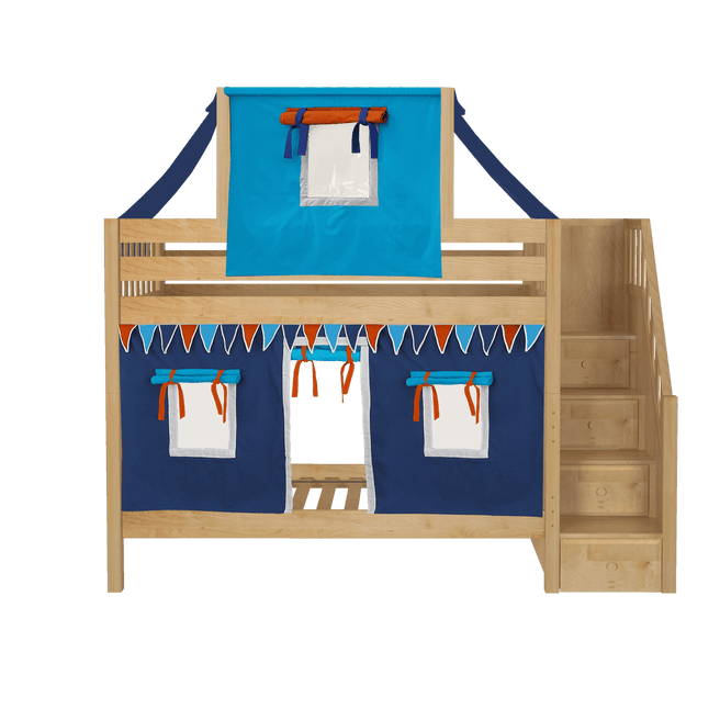Twin Medium Bunk Bed with Stairs, Curtain + Top Tent