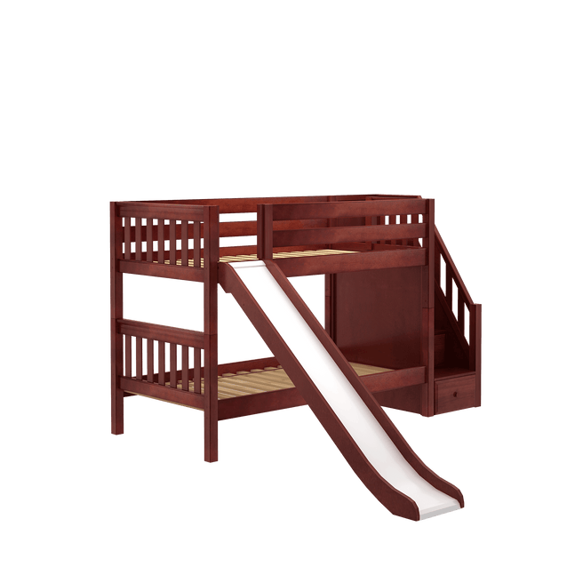 Twin Low Bunk Bed with Stairs + Slide