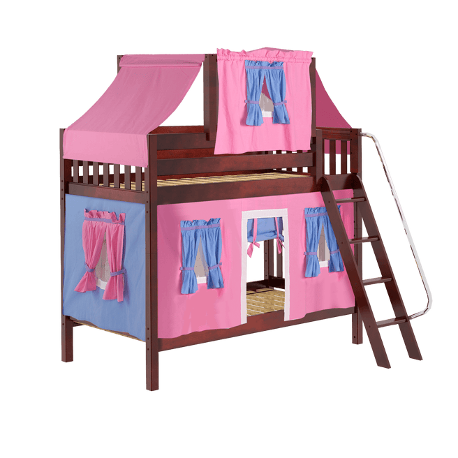 Twin Medium Bunk Bed with Angled Ladder, Top Tent + Curtain