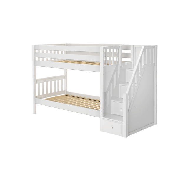 Twin Low Bunk Bed with Stairs