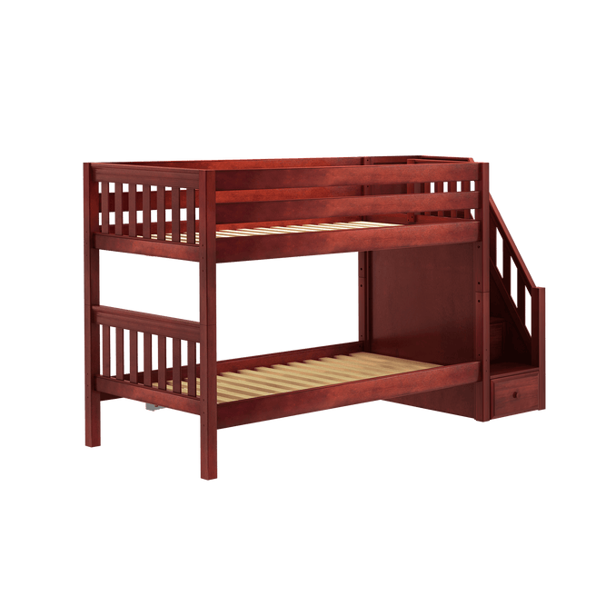 Twin XL Low Bunk Bed with Stairs