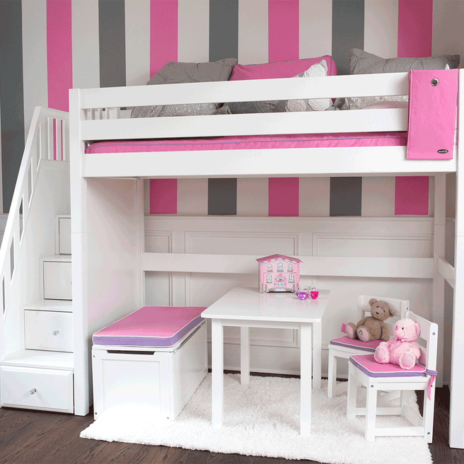 Twin High Loft Bed with Stairs