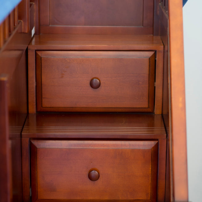 Twin Low Bunk Bed with Stairs + Curtain
