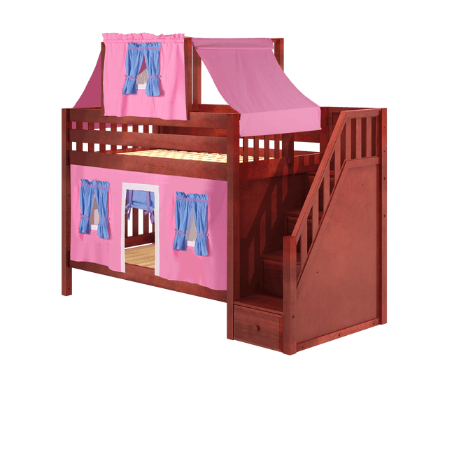 Twin Low Bunk Bed with Stairs, Curtain + Top Tent