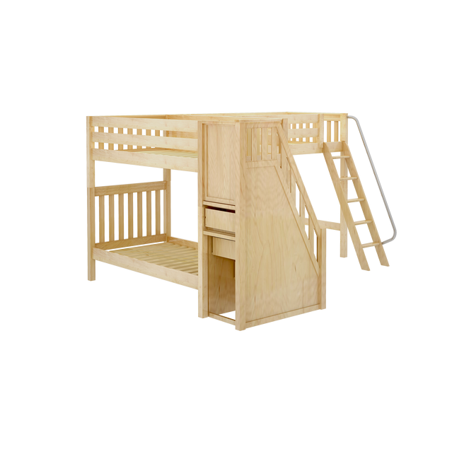 Twin High Corner Loft Bunk Bed with Ladder + Stairs - R