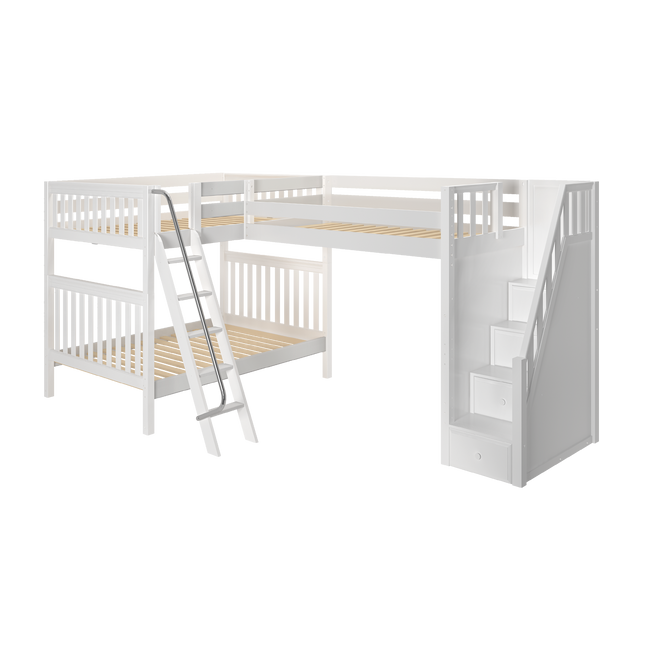 Full High Corner Loft Bunk Bed with Ladder + Stairs