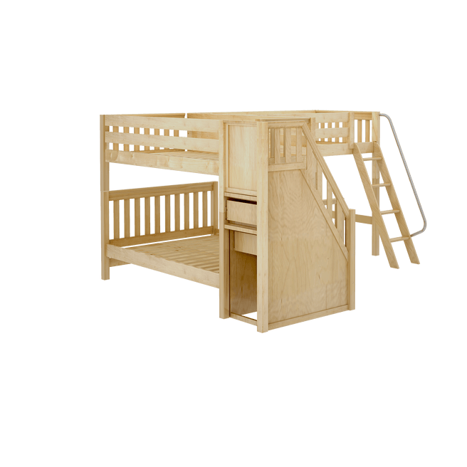 Medium Twin over Full Corner Loft Bunk Bed with Ladder + Stairs (Left)