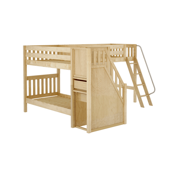 Twin Medium Corner Loft Bunk Bed with Ladder + Stairs - L