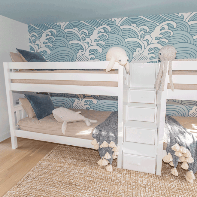 Twin Low Quadruple Bunk Bed with Stairs