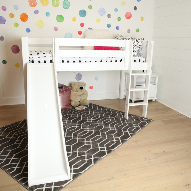 Twin Low Loft Bed with Slide