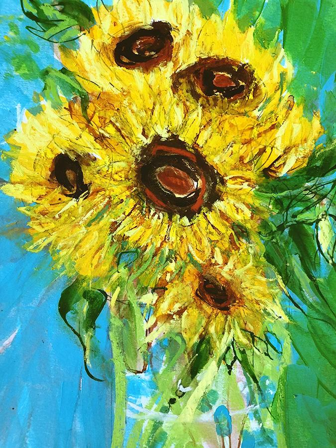 Sunflowers/blue