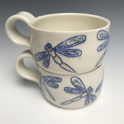 Blue  Dragonfly  Multi Porcelain Mug