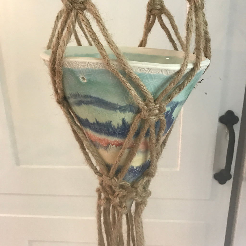 Large  Textured Porcelain planter with Jute Macrame hanging holder