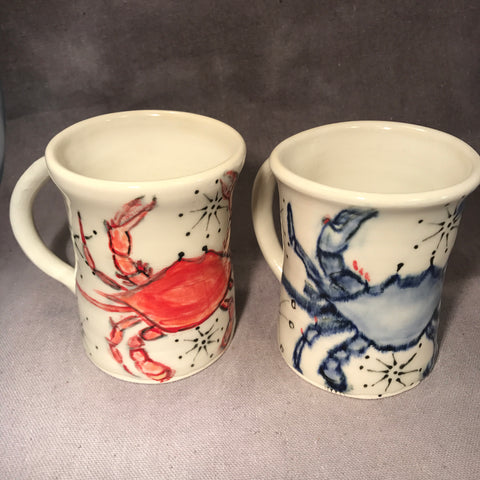 Pair of Crabby English Porcelain Mugs - Made to Order