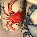 Pair  of Crabby Crab English Porcelain Mugs - Made to Order