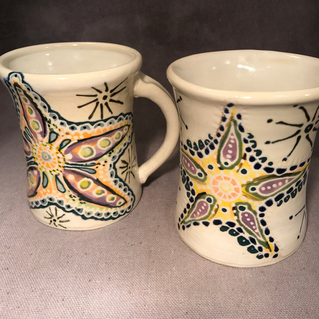 Starfish Hand Painted English Porcelain Mug Set - Made to Order