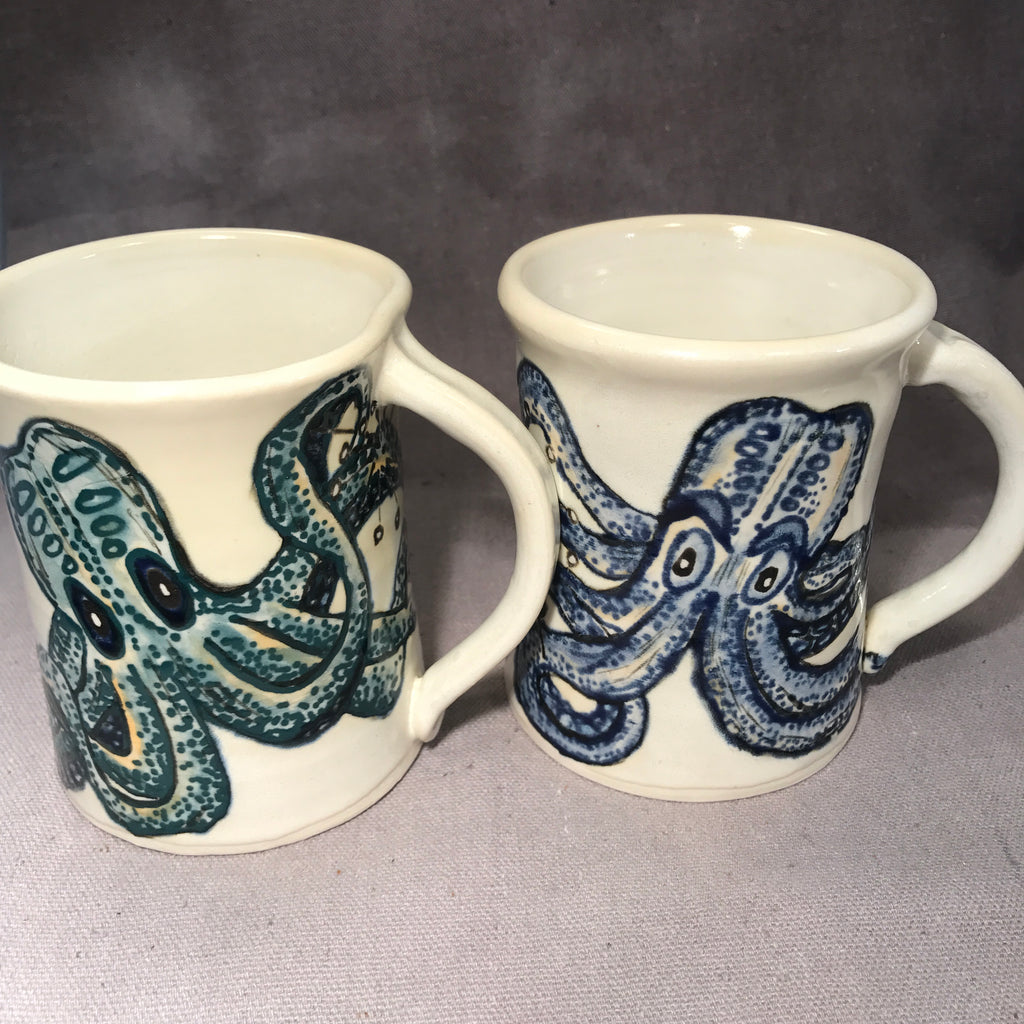 Pair  of Octopi English Porcelain Mugs - Made to Order