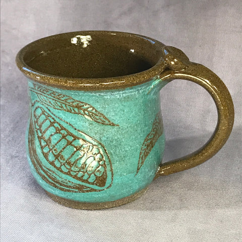 Cacao Mug (Teal) - Chocolate Brown Clay - 16 oz.