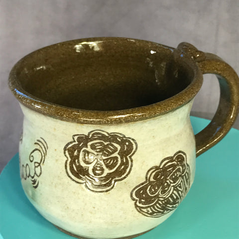 Cacao Mug (White) - Chocolate Brown Clay - 16 oz.
