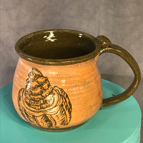 Cacao Mug (Orange) - Chocolate Brown Clay - 16 oz.