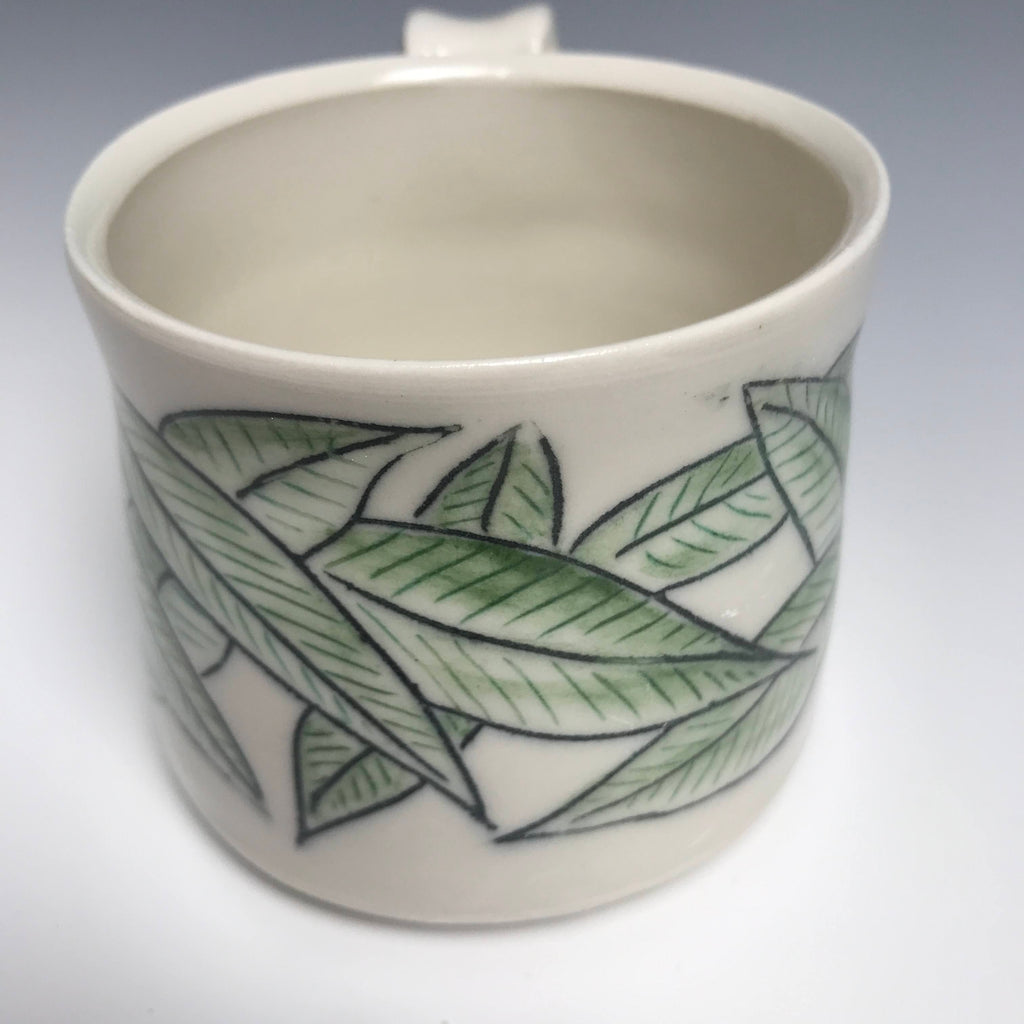 Black  and  Green Leaf Mug
