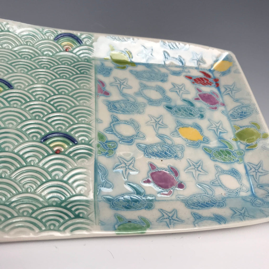 Rainbow  Sea Turtles Textured Porcelain Tray