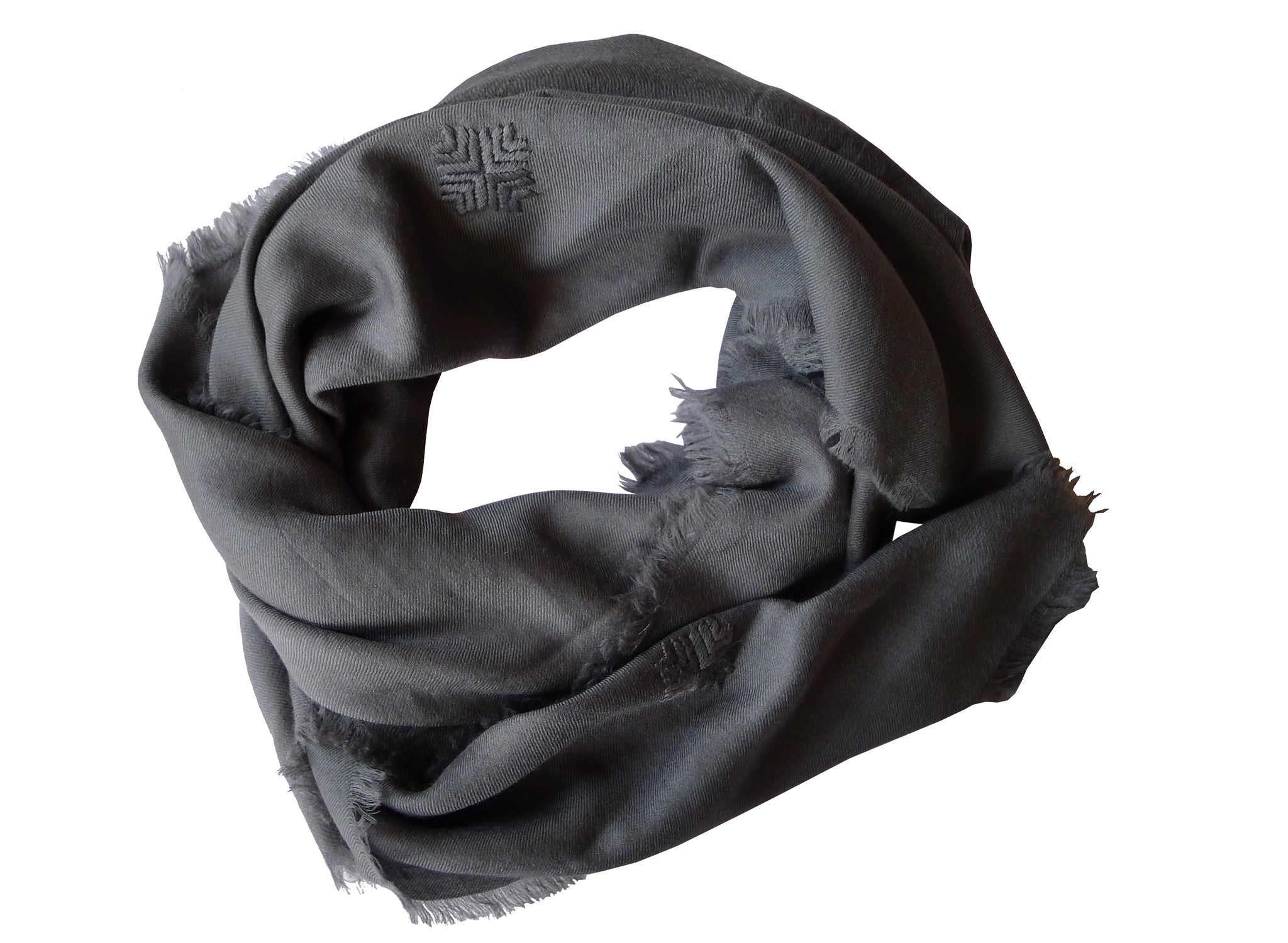 Embroidered Scarf - Gray