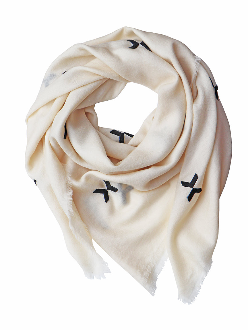 Embroidered Scarf - Ivory/Black