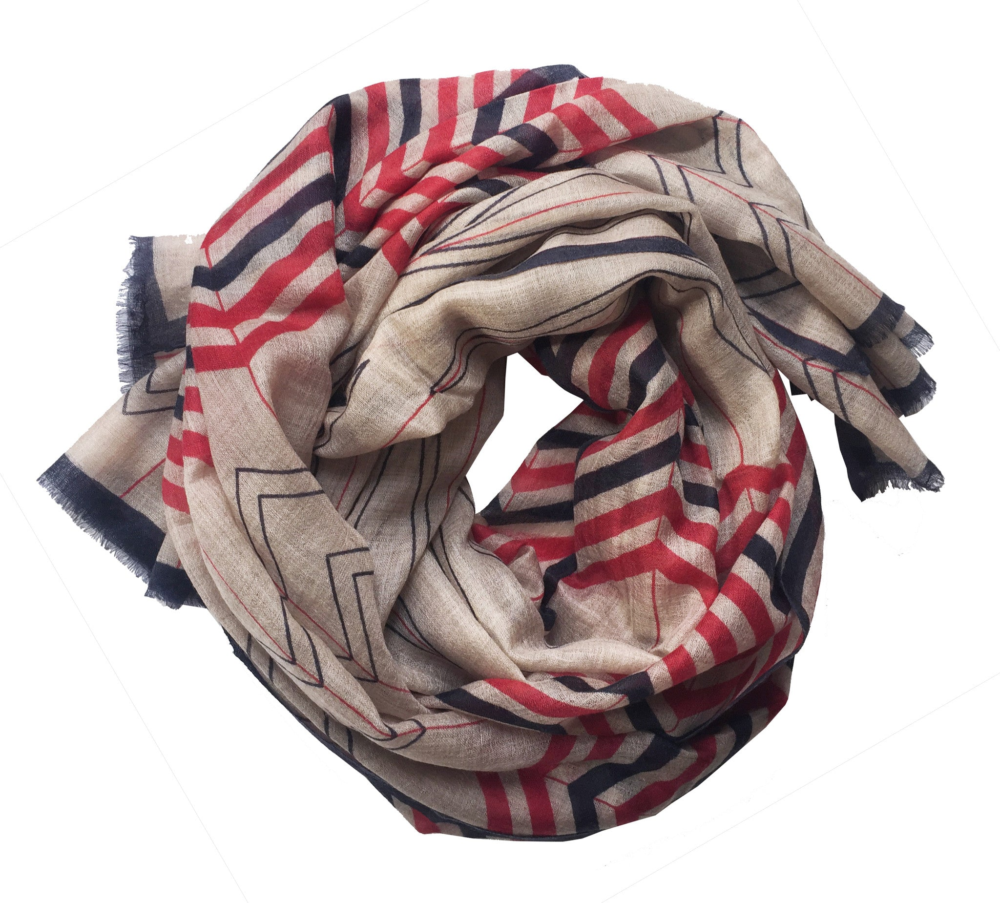 SKY Chevron Scarf - Red/Midnight/Sand