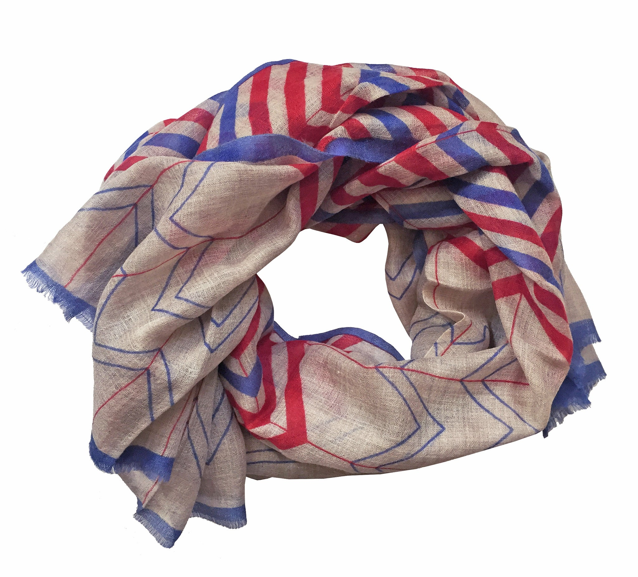 SKY Chevron Scarf - Red/Amparo Blue/Sand