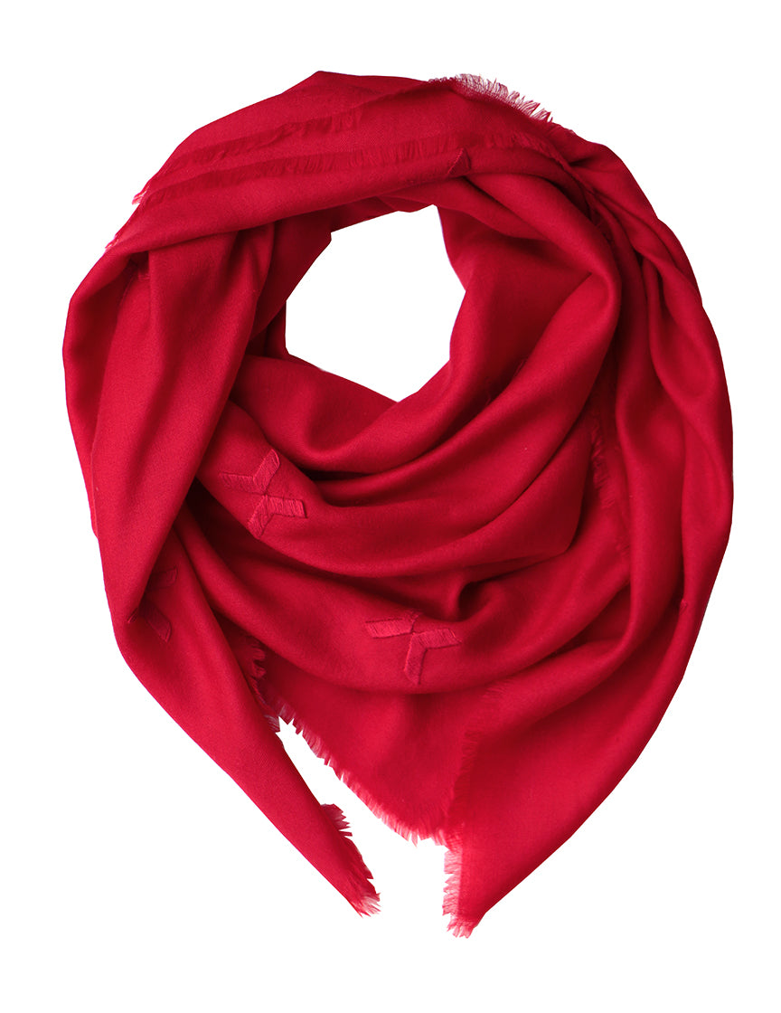 Embroidered Scarf - Red