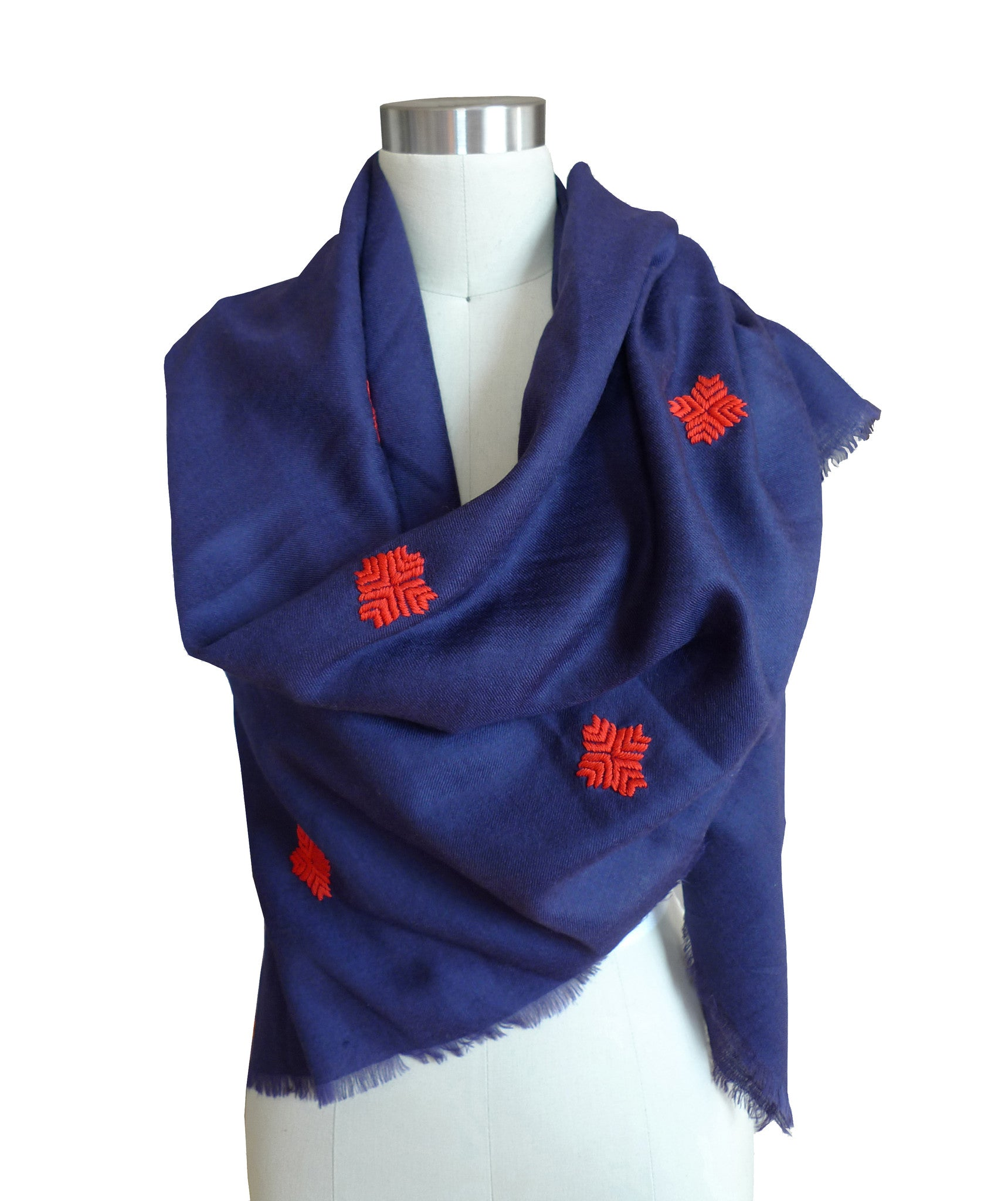 Embroidered Scarf - Electric Navy/Vermillion