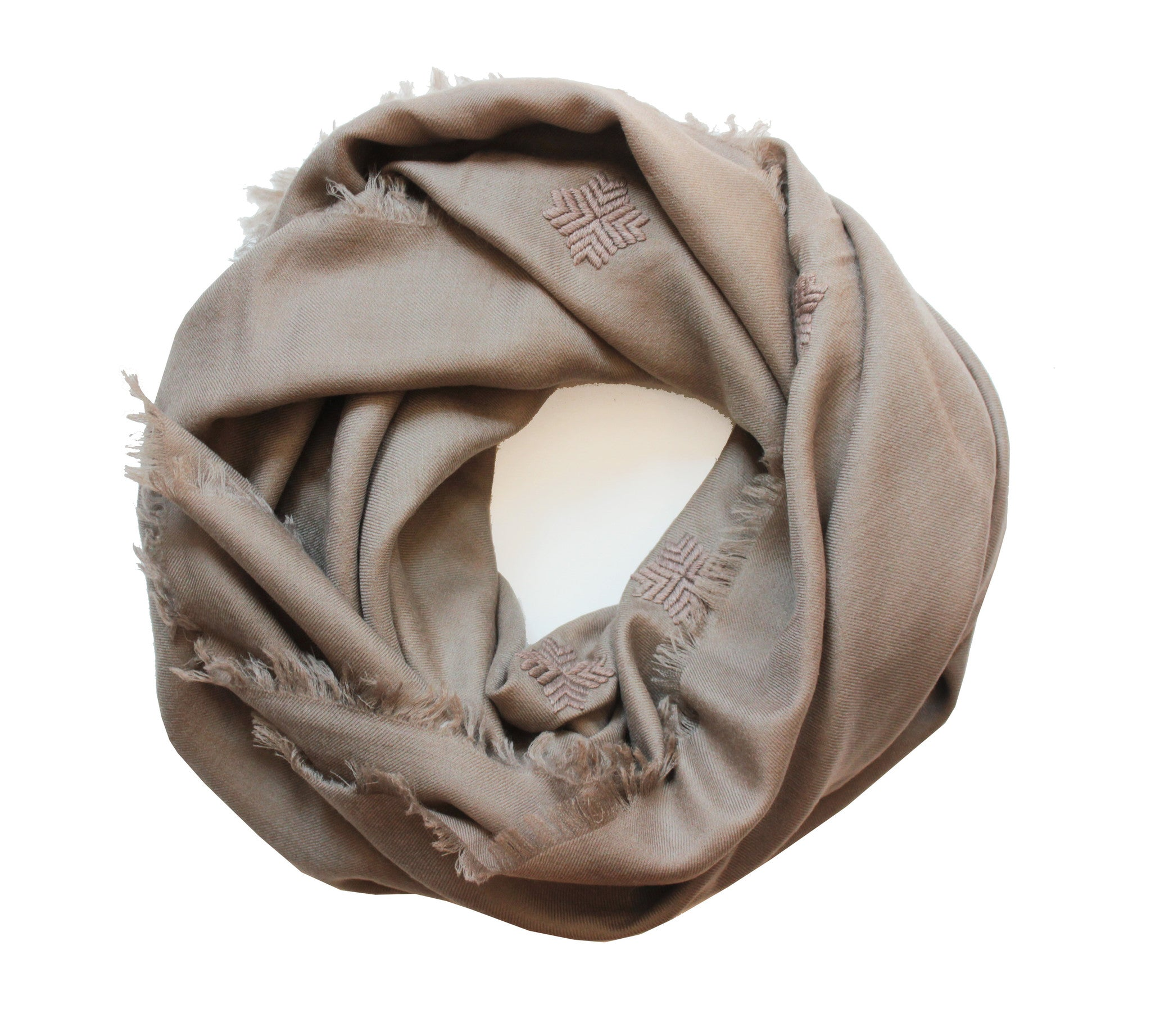 Embroidered Scarf - Tan