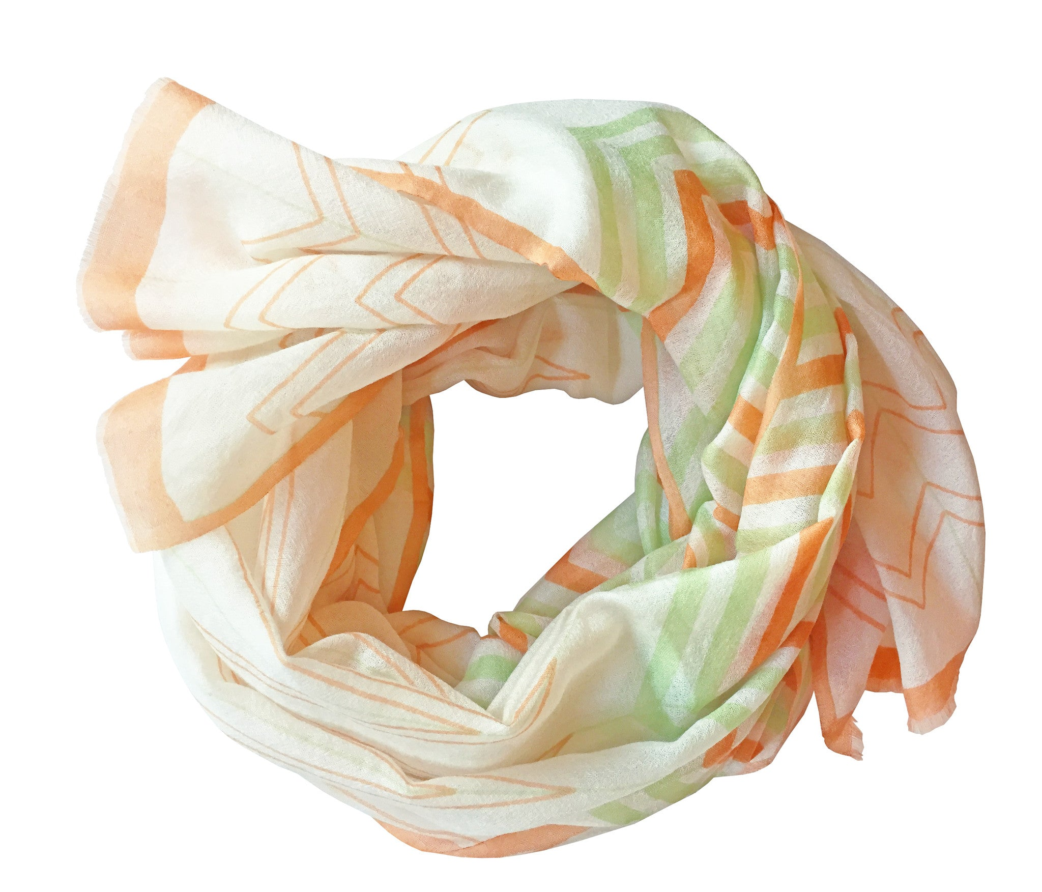 SKY Chevron Scarf - Peach and Apple