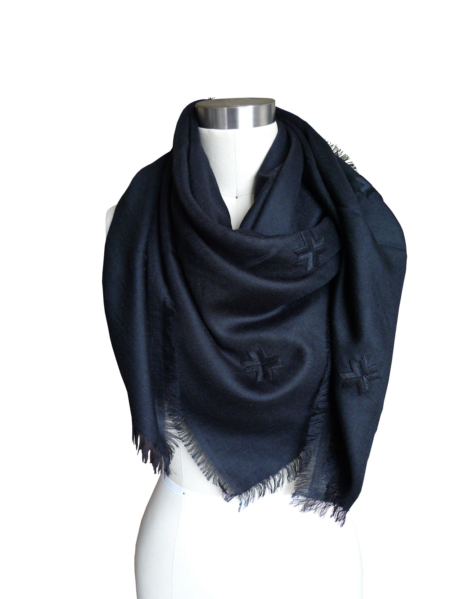 Embroidered Scarf - Black