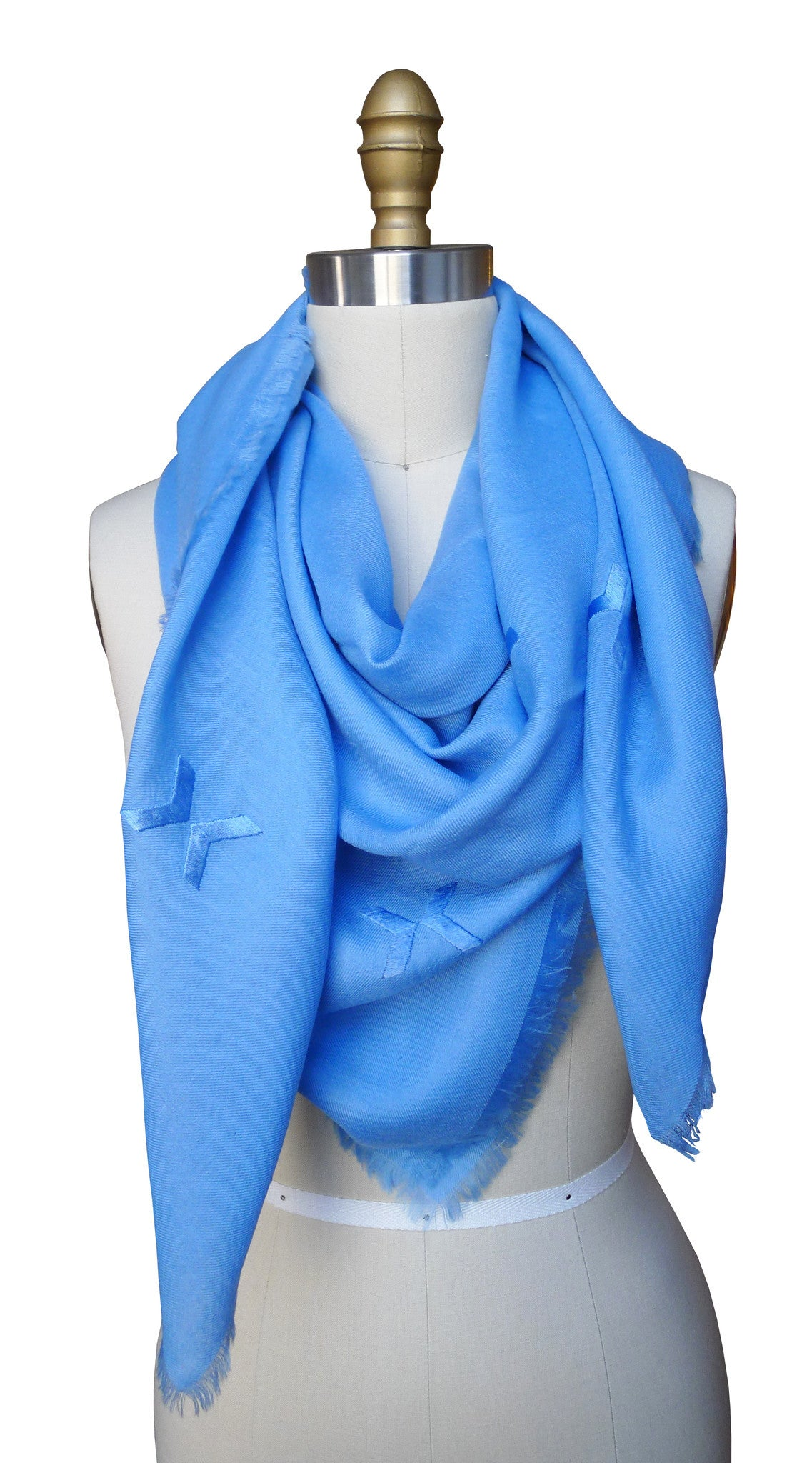 Embroidered Scarf - Blue