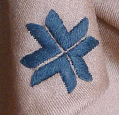 Embroidered Scarf - Fawn/Cadet Blue